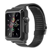 Case with Band for Apple Watch Series SE 6 5 3 44mm 42mm Full Coverage Bumper Metal Case Built-in Tempered Glass for iWatch 38mm 40mm Series 4 2 Protective Cover Stainless Steel Straps