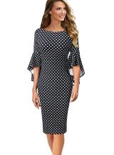 VfEmage Womens Elegant Bell Sleeve Wear to Work Party Cocktail Sheath Dress