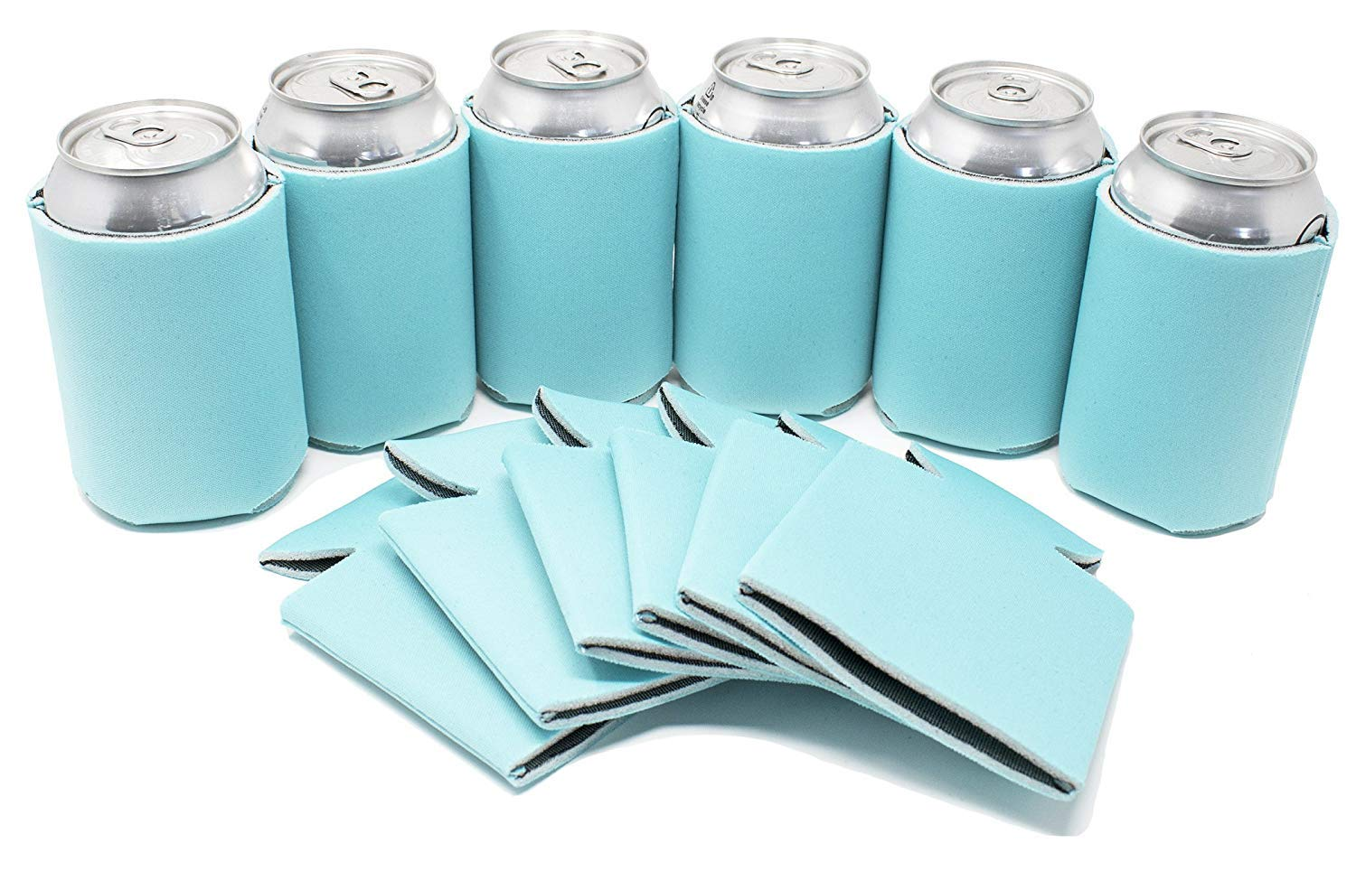 TahoeBay 12 Blank Beer Can Coolers, Plain Bulk Collapsible Soda Cover Coolies, DIY Personalized Sublimation Sleeves for Weddings, Bachelorette Parties, Funny HTV Party Favors (Robins Egg Blue, 12)