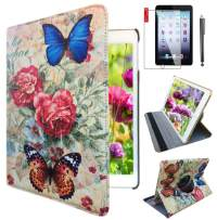 Ipad 2/3 / 4 Case 360 Degrees Rotating Stand Leather Magnetic Smart Cover Case for Ipad 2/3/4 Generation Case with Bonus Screen Protector, Stylus and Cleaning Cloth (case for Blue Butterfly)