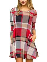 Faddare Tshirt Dress Tunic Pockets Plaid,Autumn Spring Clothes,Plaid Red Black 2XL