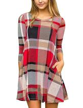 Faddare Tshirt Dress Tunic Pockets Plaid,Autumn Spring Clothes,Plaid Red Black 2XL