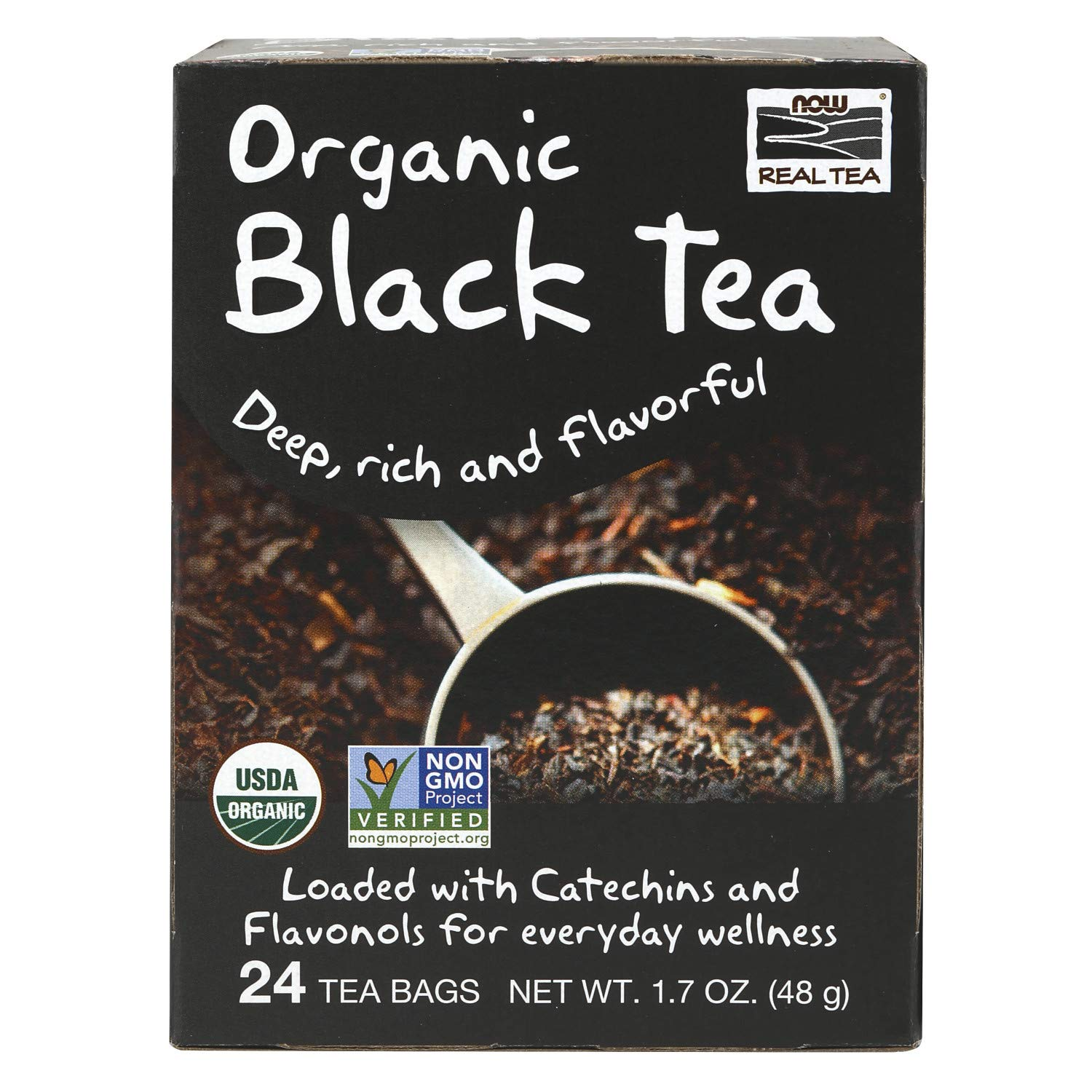 NOW Foods, Certified Organic Black Tea, Deep Rich Flavor, Non-GMO, with Catechins and Flavonols, Premium Unbleached Tea Bags with No-Staples Design, 24-Count