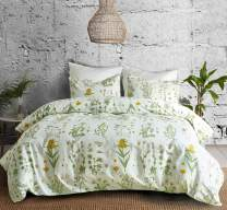 Duvet Cover Set Queen/Full Floral Boho Hotel Bedding Sets Comforter Cover with Soft Lightweight Microfiber 1 Duvet Cover and 2 Pillowcases (Queen, Fragrant Grass)