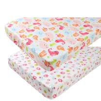 Pack n Play Playard Sheet Set 2 Pack 100% Jersey Knit Cotton Ultra Soft and Stretchy Portable Mini Crib Mattress Fitted Sheets for Baby Girl Boy Mermaid Whale Sea Lion and Other Animal by Knlpruhk