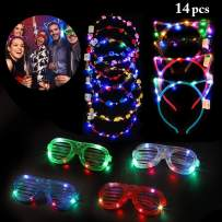 Outgeek 14 pcs LED Light Up Toys, 6 Led Flower Crowns Wreath,4 LED Cat Ears Headband,4 Light Up Glasses Glow in The Dark Party Accessories Party Supplies Favors 2020 New Year for Kid Adults