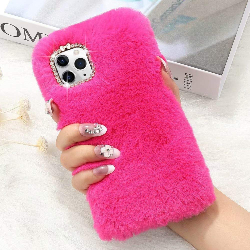 for iPhone 11 Case Cute Girly Faux Fur Case with Chic Bling Crystal Diamond Bowknot Flexible Silicon Soft Fluffy Furry Shockproof Protective Phone Case for iPhone 11 Rose red