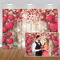 CHAIYA 8x6ft Valentine Backdrop Wood Backdrop Vinyl Red Love Heart Valentine's Day Backdrops for Photography Mother's Day Party Bridal Shower Valentine Day Dessert Cake Table Decoration CY-147