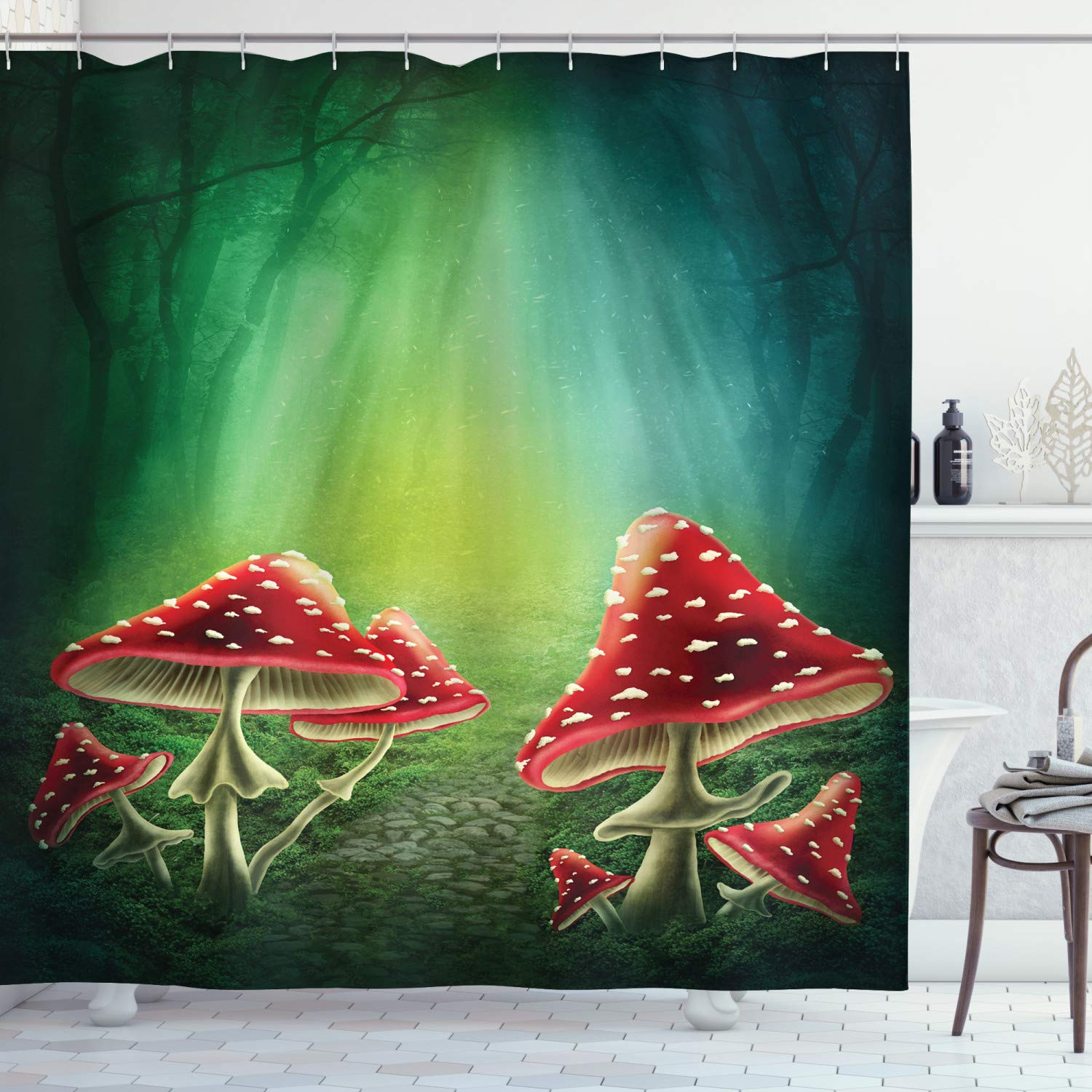 "Ambesonne Mushroom Shower Curtain, Dark Forest with Mushrooms Adventure Misty Mysterious Wizard Witch Magic, Cloth Fabric Bathroom Decor Set with Hooks, 75"" Long, Green Red"