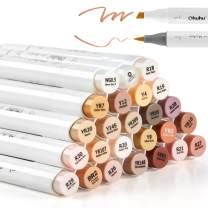 24 Skin-Tone Colors Alcohol Markers, Ohuhu Brush & Chisel, Sketch Art Marker, Alcohol-based Brush Markers for Kids and Adults' Coloring, Illustration, BONUS 1 Colorless Alcohol Marker Blender