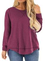 ROSRISS Womens Plus Size Tops Casual Loose Long Sleeve Side Split Tunics Shirts