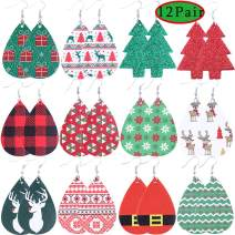 Colle 12 pairs Christmas Leather Earring Women's Drop Dangle Earrings Plaid Faux Leather Sheet Earrings Buffalo Earring Girls Earrings (12 pairs Christmas Leather Earring)