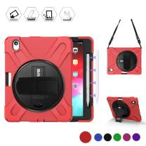 BRAECN iPad Pro 11 Case 2018, Shockproof Rugged Case with Adjustable Hand Strap,Rotating Stand,Attachable Shoulder Strap for iPad Pro 11 Inch [Support iPad Pencil Magnetically Attach Charge/Pair]-Red