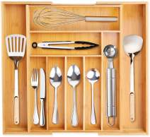 VSADEY Kitchen Drawer Organizer Bamboo Expandable Utensil Silverware Organizer, 9 Compartments Compact Cutlery Tray Organizer Holder for Kitchen Utensils, Flatware and Silverware