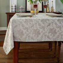 """Jacquard Tablecloth Floral Pattern Polyester Table Cloth Spill Proof Wrinkle Resistant Table Cover for Kitchen Dining Parties Tabletop(Rectangle/Oblong, 60"""" x 84"""" (6-8 Seats),Platinum)"""