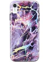 JIAXIUFEN Compatible iPhone XR Case Shiny Change Color Dark Purple Marble Slim Shockproof Flexible Bumper TPU Soft Case Rubber Silicone Cover Phone Case for iPhone XR 2018 6.1 inch