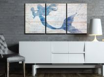 "wall26 3 Piece Canvas Wall Art - Mother Mermaid and Baby Mermaid on Rustic Wood Background (Stye 2) - Modern Home Decor Stretched and Framed Ready to Hang - 16""x24""x3 Panels"