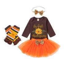 My First Thanksgiving Baby Girls Outfits Floral Long Sleeve Romper+Tutu Dress+Golden Headband+Leg Warmers 4Pcs Skirt Set