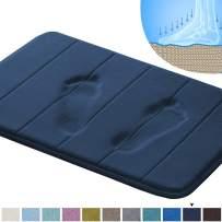 "Flamingo P 20"" x 32"" Soft Bath Mat Extra Absorbent Memory Foam Rug Toilet Floor Rug Machine-Washable, Perfect Bath/Tub Non-Slip Rubber Bathroom Rug Mats Water Absorbent Navy Striped Pattern"