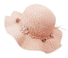 Summer Girl Half a Flanging Straw Hat Beach Sun Cap with Two Flowers