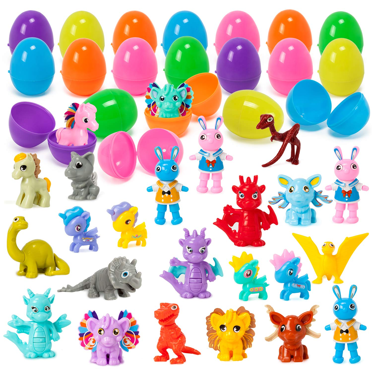 YIHONG 24 Pcs Prefilled Easter Eggs with Mini Assembling Toys Inside for Boys, Surprise Eggs for Easter Hunts, Basket Stuffers, Party Favor
