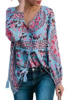 Shawhuwa Women's Floral Print V Neck Shirts Long Sleeve Boho Tops Casual Loose Blouses