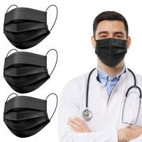 Black Medical Disposable Face Masks, Medical Grade Face Covering 3ply 98% Soft Breathable Adjustable Elasticity Earloops W/Nose Wire for Adult Teens Protective 100pcs