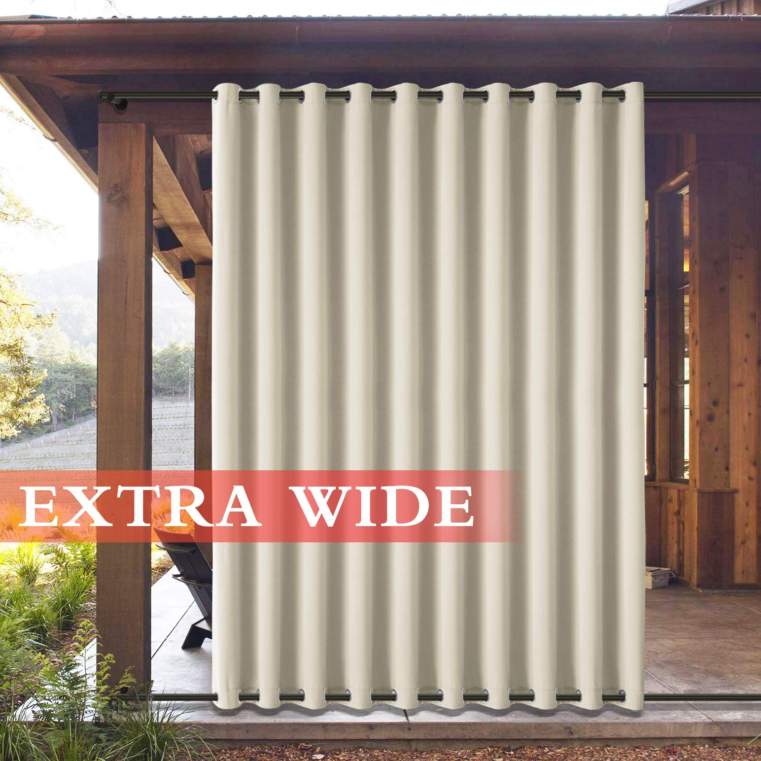 Frelement Outside Drapes Panels for Patio Cabana Indoor/Outdoor Decoration Water Repellent Heat Insulated Outdoor Curtains Rustproof Grommet Top and Bottom, Beige 100W x 102L (1 Panel)