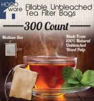 Fillable Tea Bag Filters for Loose Tea, Disposable (Medium 5x7 cm, Unbleached)