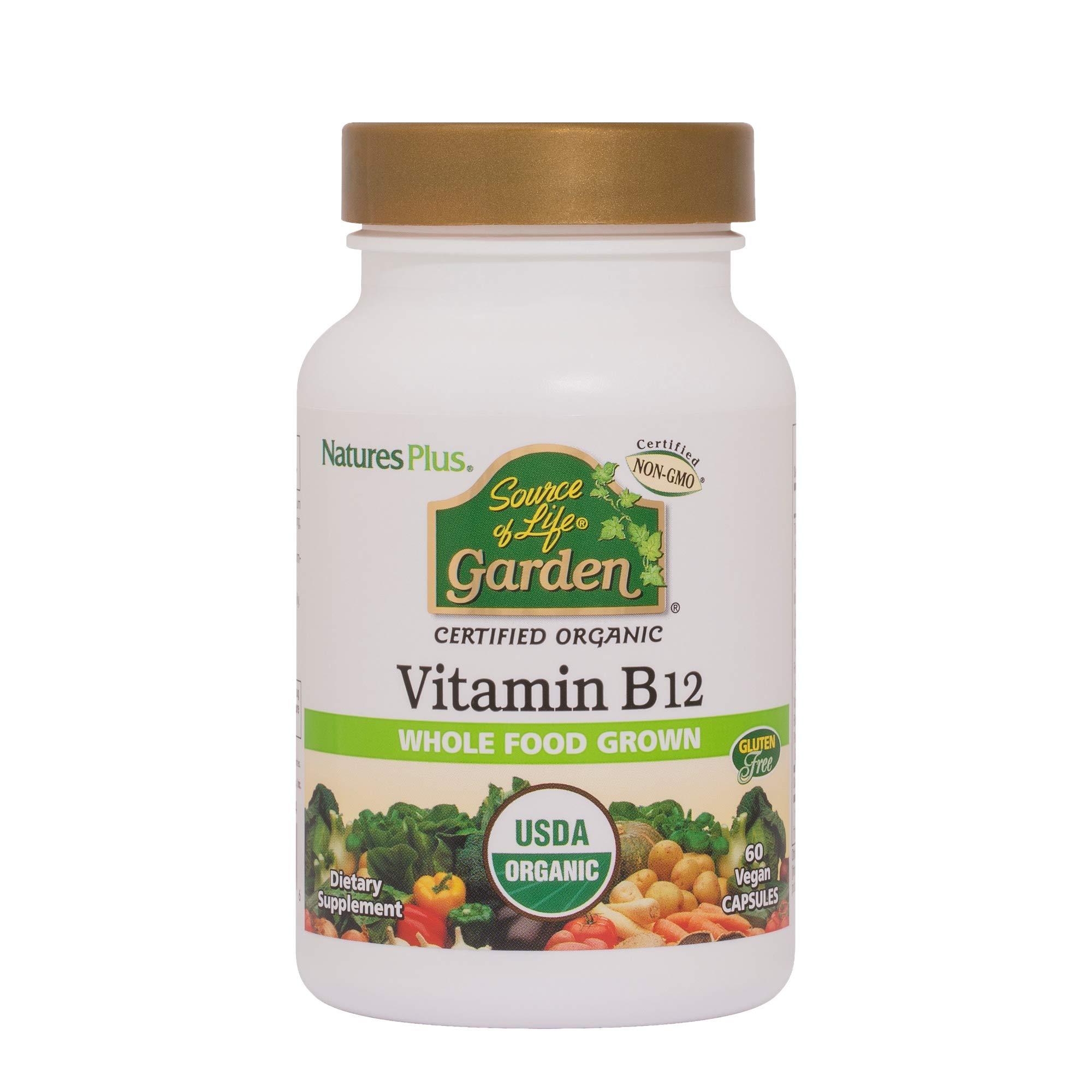 NaturesPlus Source of Life Garden Certified Organic Vitamin B12-1000 mcg methylcobalamin, 60 Vegan Capsules - Whole Food Vitamin B12 Supplement - Energy Boost - Vegetarian, Gluten-Free - 60 Servings