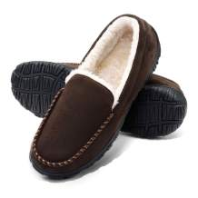 VLLY Slippers for Men Indoor Outdoor Slip On Moccasin Slippers with Anti-Slip Memory Foam
