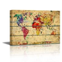 """wall26 - Canvas Prints Wall Art - Abstract Colorful World Map on Vintage Wood Background Rustic Home Decoration - 24"""" x 36"""""""
