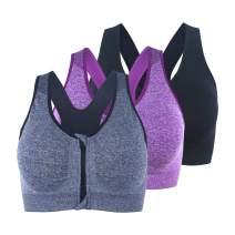 BANG BANG Front Zipper Closure Wirefree Sports Bra Racerback Yoga Bras