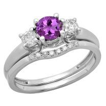 Dazzlingrock Collection 10K 5 MM Round Gemstone & White Diamond Bridal 3 Stone Engagement Ring Wedding Set, White Gold