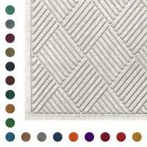 WaterHog Diamond | Commercial-Grade Entrance Mat with Fabric Border – Indoor/Outdoor, Quick Drying, Stain Resistant Door Mat (White, 4' x 12.2')