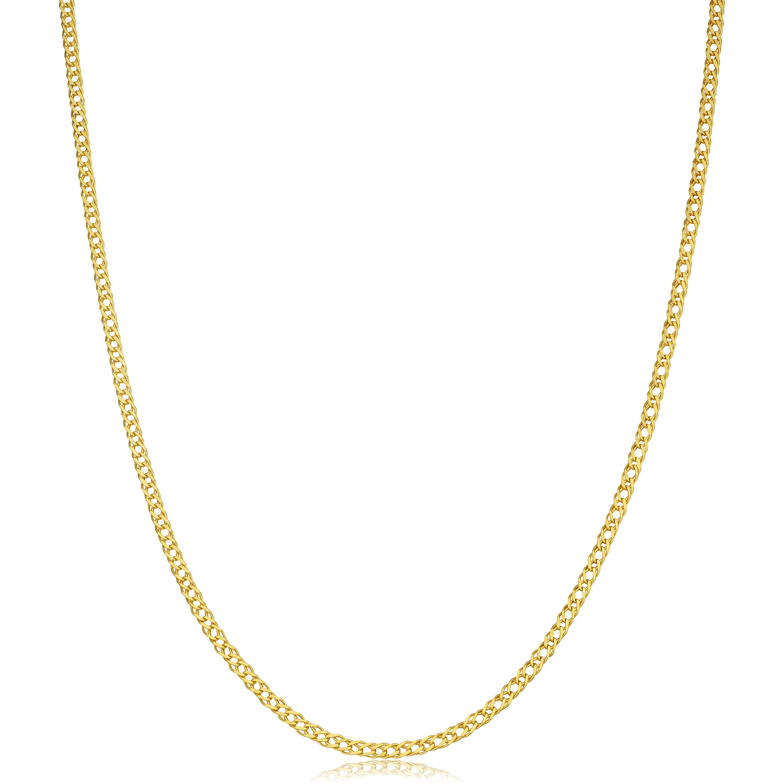 Kooljewelry 14k Yellow Gold 2 mm Diamond Weave Chain Necklace (18, 20, 22, 24, 26, 30 or 36 inch)