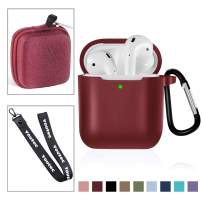 Youtec Airpods Case Cover, Shockproof Airpods Protective Case Cover Silicone Skin Kits Compatible with Airpods 2 & 1 Charging Case with Keychain + Strap + Earhooks + Neckyard[Front LED Visible]