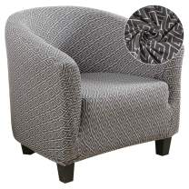 Didihou Club Chair Slipcover, Stretch Armchair Covers 1-Piece Geometric Print Tub Chair Covers Sofa Cover Jacquard Spandex Couch Covers for Bar Counter Living Room