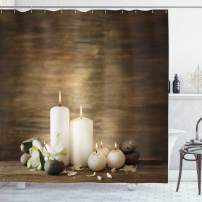 """Ambesonne Spa Shower Curtain, Composition of Pure Candles Wooden Background with Stones and Flower Petals Print, Cloth Fabric Bathroom Decor Set with Hooks, 70"""" Long, Brown White"""
