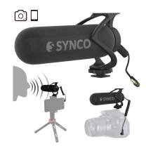 SYNCO Mic-M2 Super-Cardioid On-Camera Microphone Shotgun Condenser Mic with Shock Mount for Camera & Smartphone, Shotgun-Condenser-on-Camera-Microphone