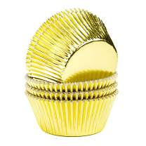 Bakuwe Standard Foil Cupcake Liners Small Muffin Baking Cups, Pack of 200, Gold
