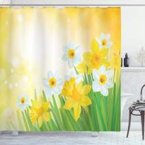 "Ambesonne Daffodil Shower Curtain, Daffodils Garden Narcissus Rebirth and New Beginnings Celebration Graphic, Cloth Fabric Bathroom Decor Set with Hooks, 84"" Long Extra, Green Yellow"