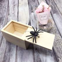 DE Spider Prank Scare Box,Wooden Surprise Box,Handmade Fun Practical Surprise Joke Boxes