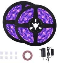 33ft UV Black Light Strip,GLIME Black Lights with 600 Units UV Lamp Beads,12V Flexible Blacklight Fixtures,10m LED Ribbon for UV Lighting,Indoor Fluorescent,Stage Lighting,Body Paint