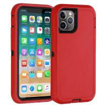 Co-Goldguard iPhone 11 Pro Max Case,Heavy Duty [Litchi Pattern Series] Armor 3 in 1 Rugged Cover with Screen Bumper Shockproof Drop-Proof Tough Shell Cases for iPhone 11 Pro Max 6.5 inch,Black&Red