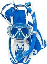 Cressi Junior Snorkeling Kit for Young Aged 3 to 8 - Mask + Dry Snorkel + Adjustable Fins + Net Bag | Lightweight Colorful Equipment | Rocks Pro Dry Set