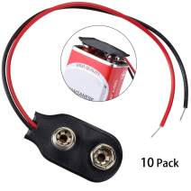 Veiai 9V Battery Clip Connector 5.9 Inches Cable Connection I-Type Black Hard Shell Red Connector Wire (10 pcs)
