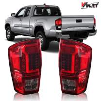 Winjet WJ20-0466-08 Taillights Lamps Replacement for 2016-2019 Toyota Tacoma Red Clear LED Tail Lights Glow Bar Running Brake