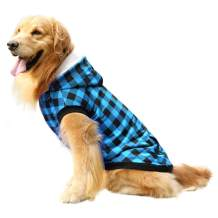 ASENKU Dog Winter Coat Fleece Thicken Dog Hoodie British Plaid Pet Jacket Warm Outfit with Removable Hat Windproof Vest for Small Medium Large Dogs, Blue, Small