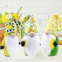 CiyvoLyeen Lemon Gnome Scandinavian Tomte Nisse Swedish Fresh Lemon Elf Home Farmhouse Kitchen Decor Easy Peasy Shelf Summertime Tiered Tray Rae Dunn Decorations, Set of 3
